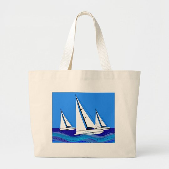 Trio of Sailboats Large Tote Bag