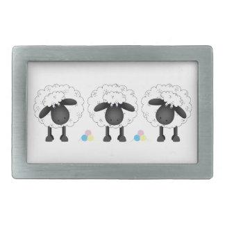 Trio Of Sheep Rectangular Belt Buckle