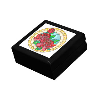 Trio of Tea Roses Stained Glass Gift Box