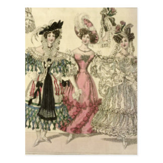 Trio of Very Frilly Dresses Postcard
