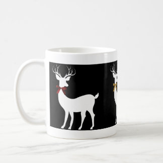 Trio of White Holiday Reindeer w Bows Coffee Mug