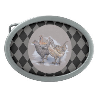 Trio of Young Chickens Oval Belt Buckles