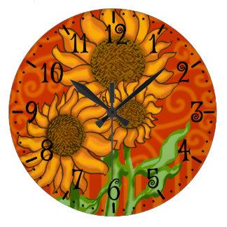 Trío redondo del reloj/del girasol de pared reloj redondo grande