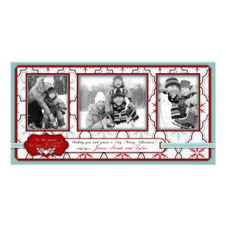 Trío retro de la tarjeta de la foto de los copos d plantilla para tarjeta de foto