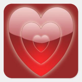 """""""Trío rojo del corazón """"que brilla intensamente"""" """" Pegatina Cuadrada"""