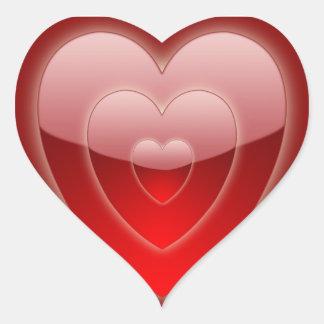 """""""Trío rojo del corazón """"que brilla intensamente"""" """" Pegatina En Forma De Corazón"""