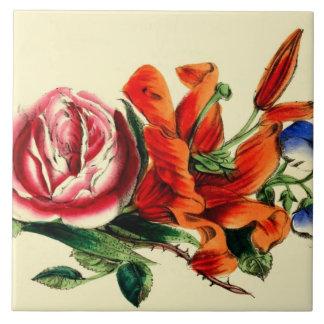 Trío rojo del ramo floral del lirio del vintage pa azulejos cerámicos