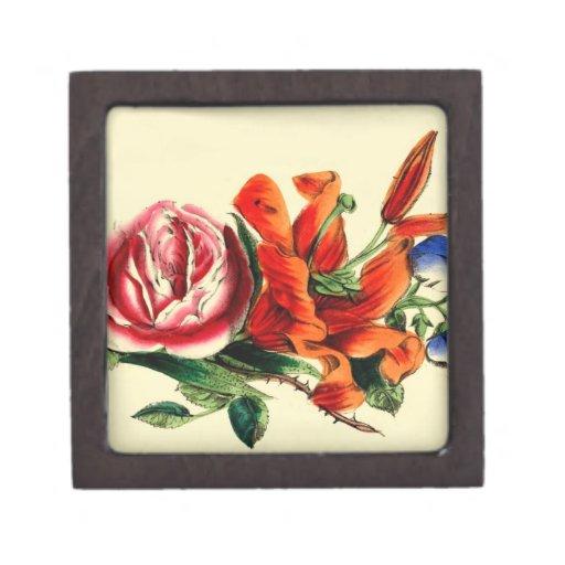Trío rojo del ramo floral del lirio del vintage pa caja de regalo de calidad