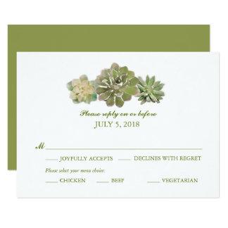 Trio Succulents Watercolor Sage | Wedding RSVP Card