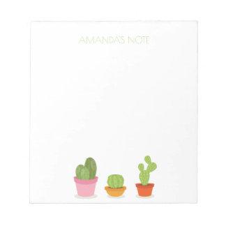 Trío suculento lindo del cactus bloc de notas