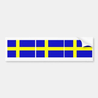 Trío sueco de la bandera etiqueta de parachoque