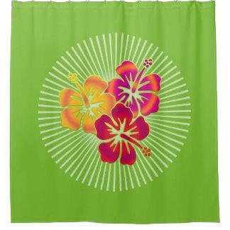 Trío tropical bonito del hibisco + su fondo cortina de baño