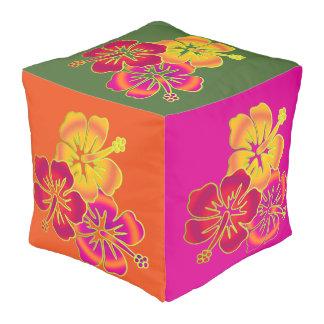 Trío tropical bonito del hibisco + su fondo pouf cuadrado