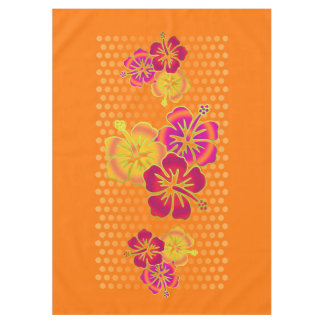 Trío tropical divertido del hibisco + su fondo mantel de tela