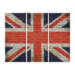 Trio union jack wall flag Canvases Stretched Canvas Print
