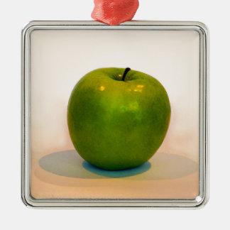 Trío verde de Apple Adorno Navideño Cuadrado De Metal