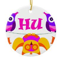 Triolium - owl party ceramic ornament