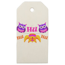 Triolium - owl party wooden gift tags