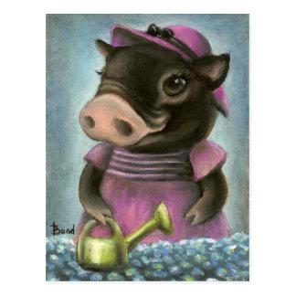 Triona el cerdo que riega sus flores tarjeta postal