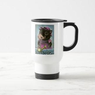 Triona el cerdo que riega sus flores tazas de café