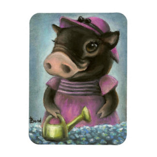 Triona the pig watering her flowers rectangular photo magnet