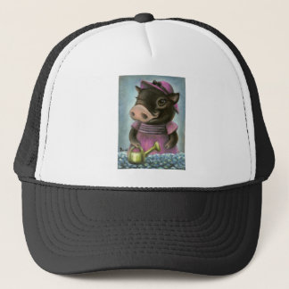 Triona the pig watering her flowers trucker hat