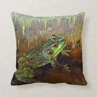 Triopse Fantasy Three-Eyed Frog in a Cave Throw Pillow