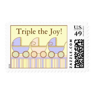 Tríos 2 muchachos 1 franqueo del bebé del chica timbres postales