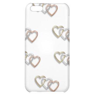 Tríos del caso de Iphone 4 de los corazones del or