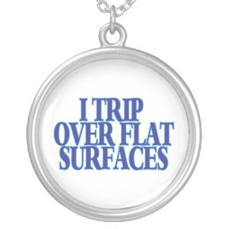 Trip Over Flat Surfaces Silver Plated Necklace
