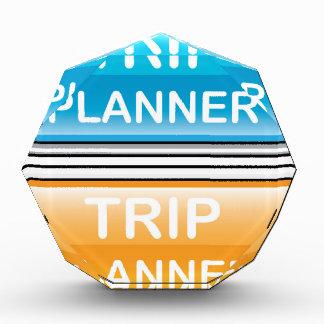 Trip Planner Button Glossy vector Acrylic Award