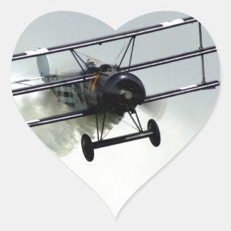 Triplano de Fokker Pegatina En Forma De Corazón