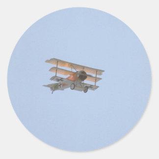 Triplano de Fokker - reproducción del barón rojo Pegatina Redonda