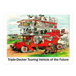 Triple-apilador que viaja al vehículo del futuro tarjetas postales