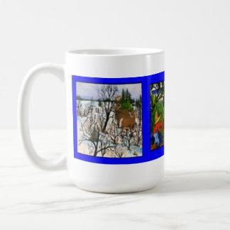 Triple Artwork Classic White Coffee Mug