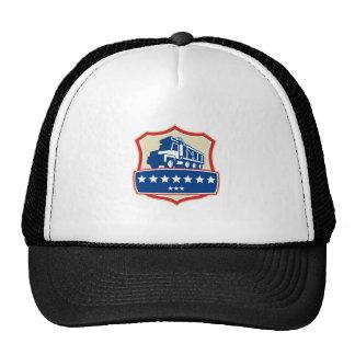 Triple Axle Dump Truck Stars Crest Retro Trucker Hat
