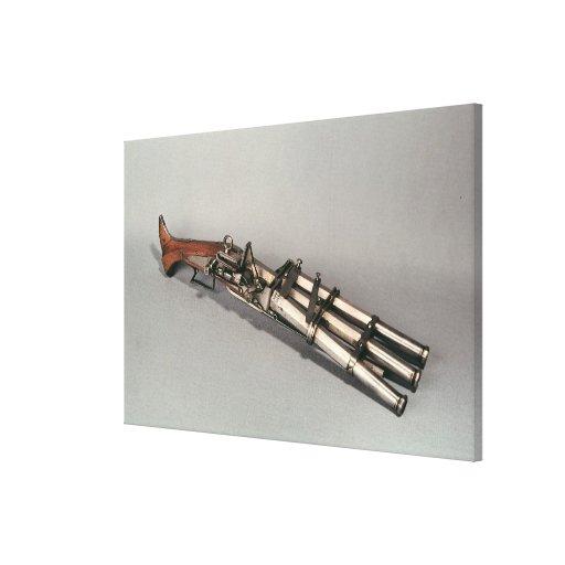 Triple-barrelled pistol canvas prints