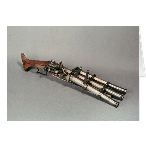 Triple-barrelled pistol card
