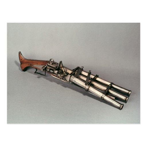 Triple-barrelled pistol postcards