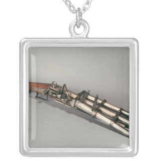 Triple-barrelled pistol silver plated necklace