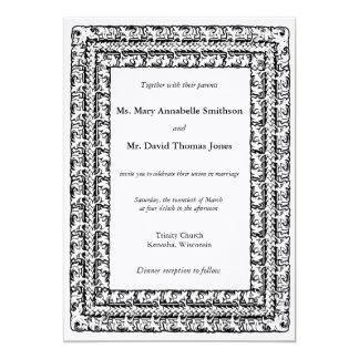 Triple beaded floral border wedding invitation