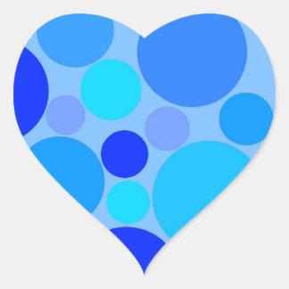 Triple Blue Polkadots Heart Sticker