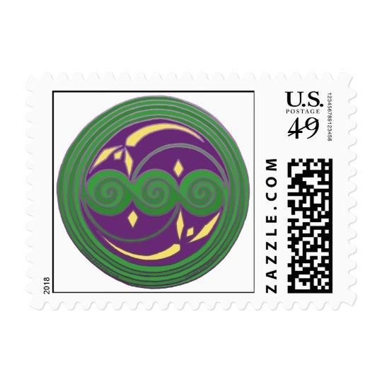 Triple Celtic Spiral Design in Green & Purple Postage