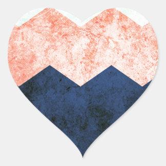 triple chevron heart sticker