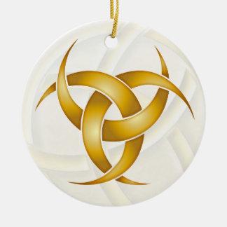 Triple Crescent Moon - Gold - 1 Ceramic Ornament