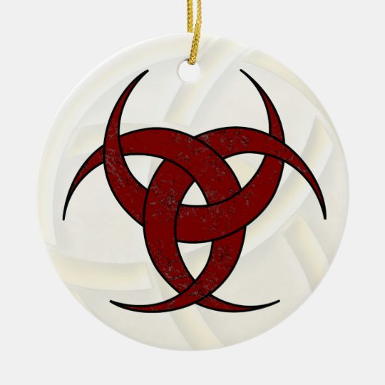 Triple Crescent Moon - Red Marble - 1 Ceramic Ornament