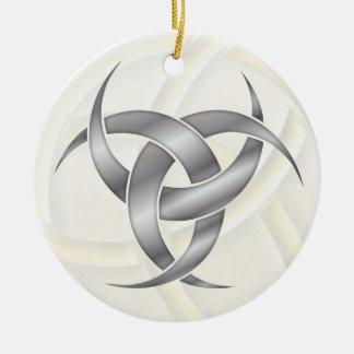 Triple Crescent Moon - Silver - 1 Ceramic Ornament