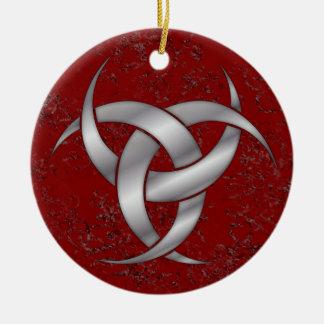 Triple Crescent Moon - Silver - 2 Ceramic Ornament