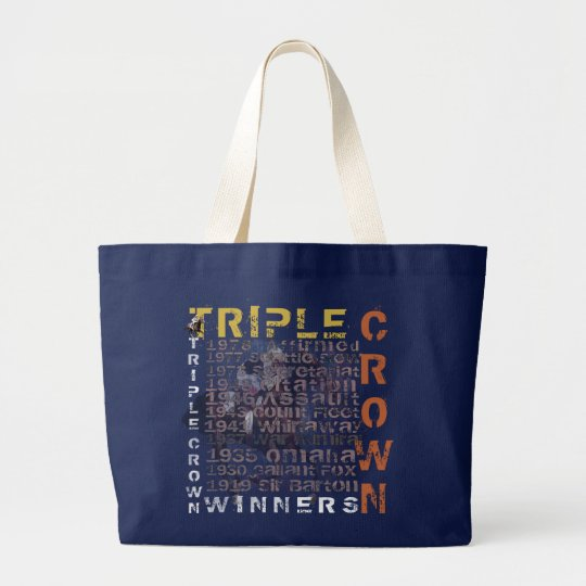 Triple Crown Winners Horse Racing Large Tote Bag