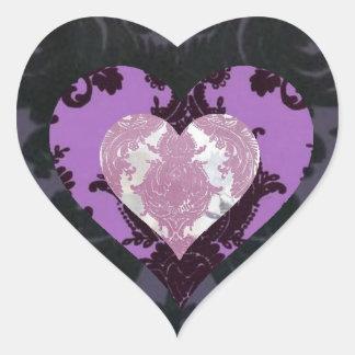 Triple damask heart sticker
